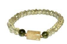 Moldavite Citrine Bracelet Quartz Crystal Healing Focus Action Success Intention