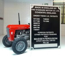 Massey Ferguson Standard FE35 35 Tractor Commission Plate 8 Patent Numbers 1958