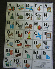 "Russian Alphabet Educational Cardboard Wall Poster Card 9"" x 12.5"""
