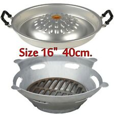 "1 Set Mookata Thai BBQ, Korean Grill Pan 16"" Aluminium Barbecue STEAK with Stove"