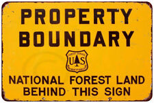 Property Boundary National Forest Vintage reproduction metal sign 8 x 12