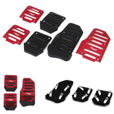 3Pcs Manual Car Non-Slip Accelerator Clutch Brake Foot Pedals Red Aluminum Alloy