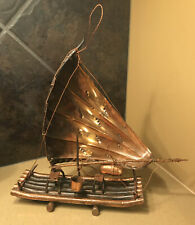 Vintage Copper Log Raft. Sail. Art Sculpture