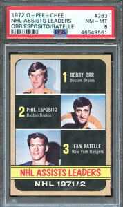 1972 O-Pee-Chee Hockey #283 Assists Ldrs Bobby Orr Phil Esposito PSA 8 46549561