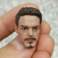 """1:12 Scale Tony Stark  man Head Sculpt Carved Model Fit  6"""" Action Figure Toys"""