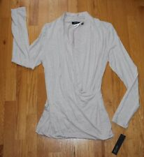 NWT APT 9 GRAY/BEIGE Crossover Mock Wrap Style Stretch Top (M) low neck MSRP $36