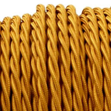 GOLD TWIST vintage style braided textile fabric electrical cord cloth cable 1m.