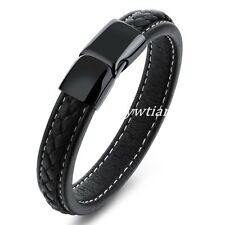 1PCS Unisex Mens Genuine Braided Leather Stainless Steel Magnetic Clasp Bracelet