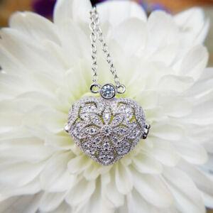 Vintage Style Gemstone Studded Sterling Silver Heart Locket Necklace