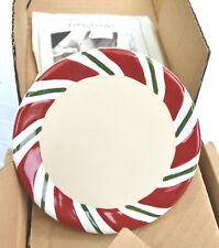 Longaberger Pottery Peppermint Twist Coasters / Pint Crock Lid - Set of 4 - Mint