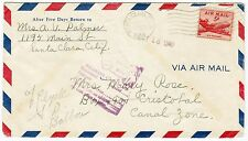 Santa Clara 1948 Canal Zone Adresse falsch Return Zurück Brief Luftpost (A309)