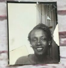 Pretty African American Young Woman in Vintage Photo Booth Short Hair Earrings
