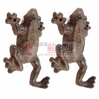 "2 Frog Hooks Cast Iron Rustic Finish Coat Keys Towel Hanger Wall Mounted 6x3.5"""