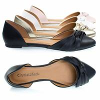 Rachel Women's Comfortable Flat Shoes, Double Open Shank D'Orsay Pump