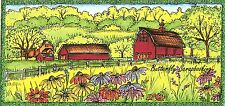 COUNTRY SPRING BARM FARM SCENE Wood Mounted Rubber Stamp NORTHWOODS O10029 New