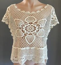 Stunning Boho Vibe MIKA & GALA Cream Open Crochet Crop Top Size 12/14