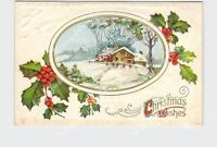 PPC POSTCARD CHRISTMAS WISHES SNOW COVERED LANDSCAPE HOLLY GOLD EMBOSSED #1