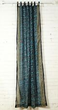 "96"" Navy Blue Turquoise SARI Curtain, Window Curtain,Bohemian printed glitter"