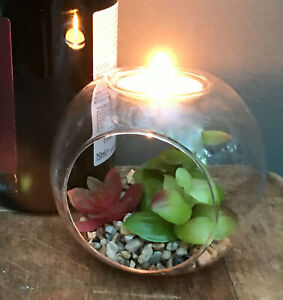 Small Faux Succulent In Glass Terrarium With Tea Light Holder Artificial Plants