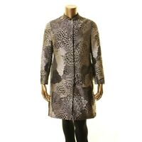 ANNE KLEIN NEW Women's Bolshoi Gray Combo Printed Long Jacket Top 8 TEDO