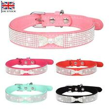 More details for suede leather rhinestone diamante dog collar soft bling cat puppy small pet uk