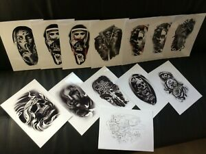 Tattoo Flash Set 6.  Black And Grey 10 Laminated Sheets With Linework A4 size.