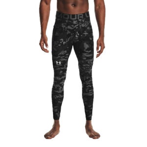 Under Armour Mens HeatGear Camo Tights Bottoms Pants Trousers Black Sports