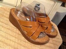 BOC Born Concepts Platform Wedge Sandals Slides Brown Leather Size US 10 M EU 42