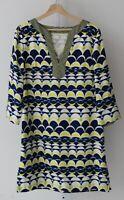 J. MCLAUGHLIN Womens Amalfi Silk Tunic Dress 3/4 Sleeve Geometric Blue Yellow M