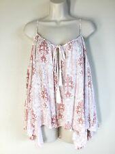 SUN SHADOW~ NEW Cold Shoulder Kimono Sleeve Tassels BOHO Print Peasant Top L