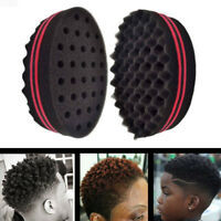 Black Double Sided Barber Hair Sponge Brush Dreads Coil Afro Curl Wave Tool NEW