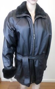 Like New Womens Wilsons Leather Long Black Leather & Faux Fur Coat Jacket Size S