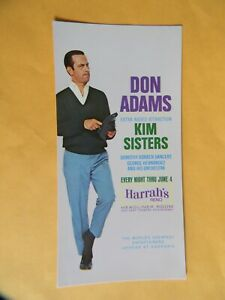 """DON ADAMS - HARRAH'S RENO - THRU JUNE 4 - 4"""" X 8"""" POSTCARD - 1969 COPYRIGHT"""