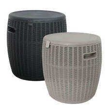 More details for rattan effect ice cooler drink bucket outdoor garden patio side table seat 45l