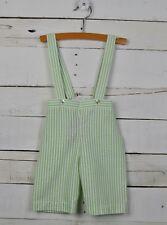 vintage NANNETTE Sz 3 6m Green White Stripe Seersucker Overall Bottoms Suspender
