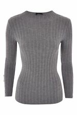 Ladies Topshop Petite Grey Funnel Neck Popper Jumper Size 14 (BE)