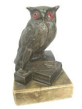 """Schöne alte Figur """" Eule auf Bücherstapel """" aus Metall auf Marmorsockel"""
