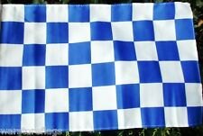 """BLUE AND & WHITE CHECKERED FLAG 18"""" X 12"""" for boats treehouses caravans SPORT"""
