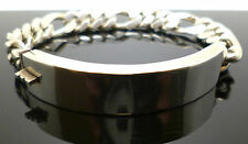 Solid silver identity bracelet with figaro style links & opening hinge to front