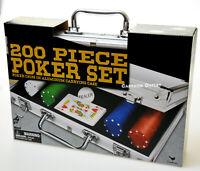 POKER CHIP GIFT SET GAME 200 CHIPS CARDS ALUMINUM CARRYING CASE DEALER XMAS