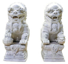 Pair Chinese Oriental Off White Porcelain Foo Dogs Statue cs2121
