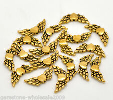 50PCS Wholesale Lots Gold Tone Heart Wings Charms Beads 22x9mm GW