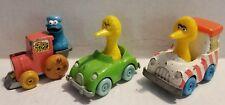 Lot 3 Playskool Sesame Street Diecast Character Cars - Cooke Monster and Bigbird