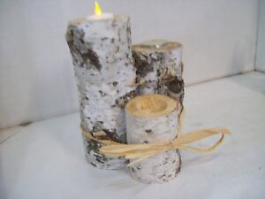 Set of Three Real Birch Candle Holders, Candles Not Included Wedding Christmas