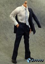 """1/6 Scale ZY Toys Male Men Navy Blue Suit Full Dress with Tie Set for 12"""" Figure"""