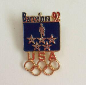USA 1992 Barcelona Olympic Lapel Pin Runner Red Blue Enamel on Card Licensed
