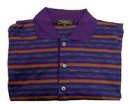 Paul Stuart Polo Golf SS Short Sleeve Purple Striped Shirt Mens M Medium Italy
