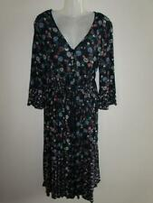MARKS & SPENER Ladies Navy Blue Floral Relaxed Midi Boho Dress Size 14 BNWT *NEW