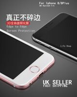 Full Cover Tempered Glass 3D Curved Screen Protector iPhone 8 8plus white black