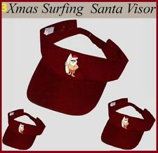 3x SURFING SANTA CHRISTMAS Red SUN VISORS Summer CAP HAT Unisex Mens Womens